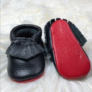 Other - Black leather with red soft sole baby moccasins